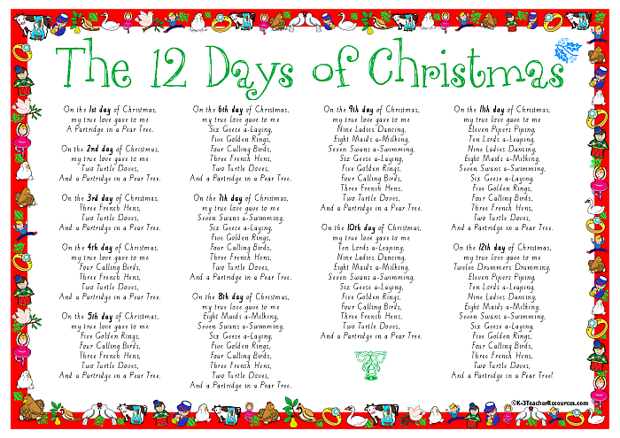 picture relating to Words to 12 Days of Christmas Printable named 12 Times of Xmas Music