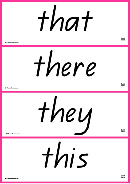 Dolch Sight Words Cards