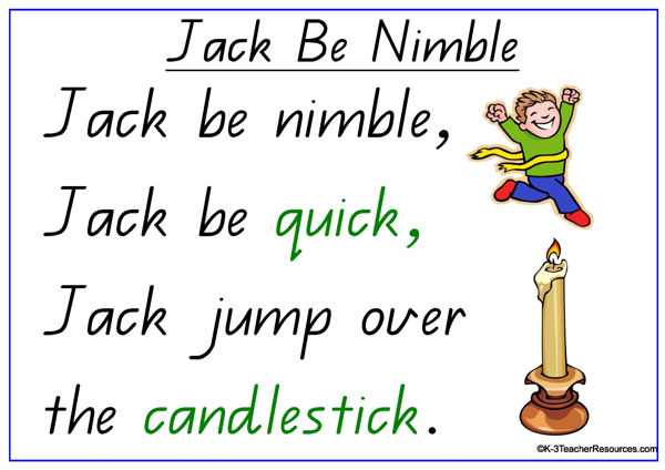 Jack Be Nimble Nursery Rhyme K 3 Teacher Resources