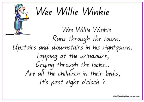 Wee Willie Winkie Nursery Rhyme