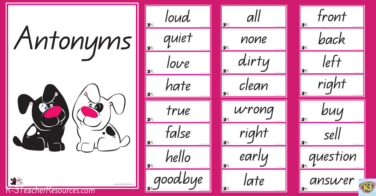 Worksheets Example Of Antonyms examples of antonyms words related keywords suggestions 40 pairs or opposites