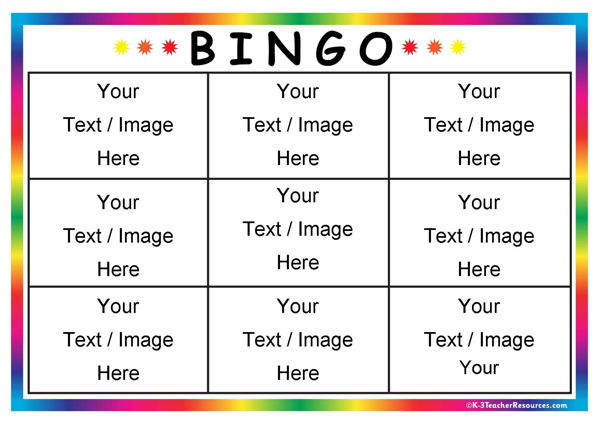 Editable Bingo Card Templates