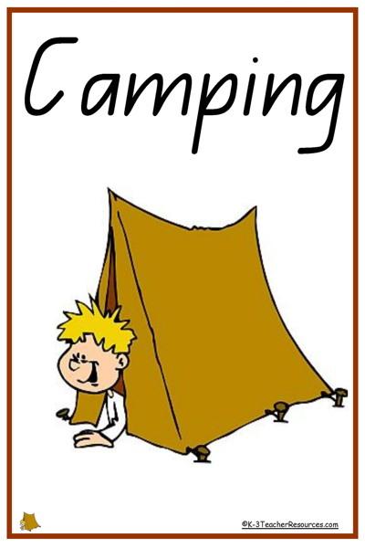 Classroom Ideas Beach Theme ~ Camping vocabulary words