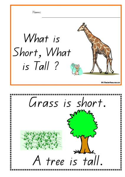 What is Short What is Tall Concept Book