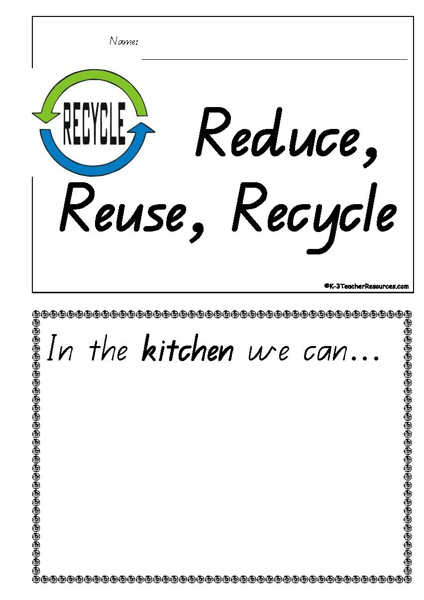 Reduce Reuse Recycle Concept Book