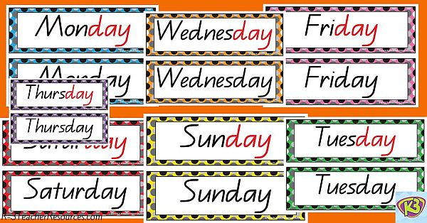 Printable Days Of The Week Cards
