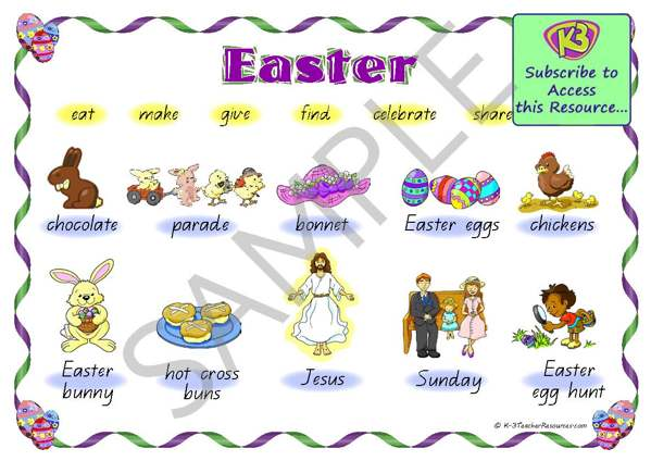 23 Printable Easter Vocabulary Words K-3 Teacher Resources