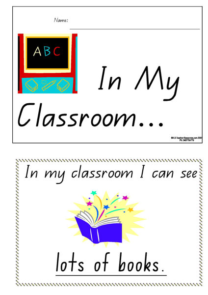 Printable In My Classroom Concept Book