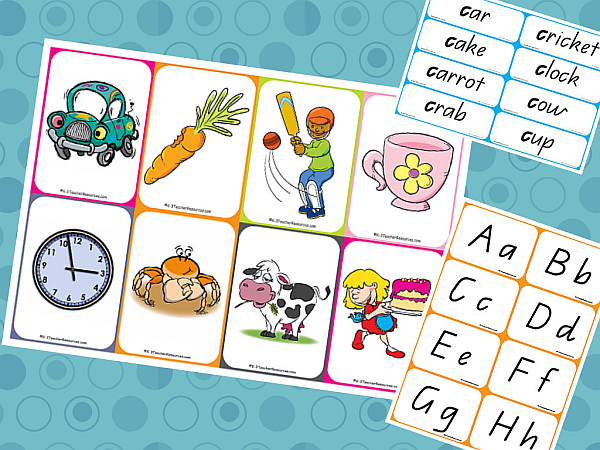 Matching Alphabet Pictures , Words and Letters