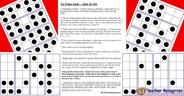 graphic about Printable 10 Frame titled Printable Tens Body Playing cards