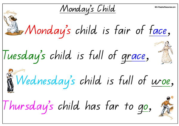Mondays Child Nursery Rhyme K-3 Teacher Resources