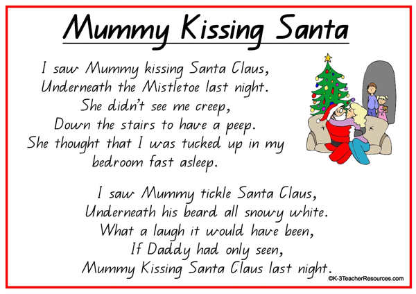 mummy kissing santa claus