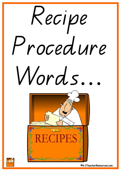 Recipe Procedure Words