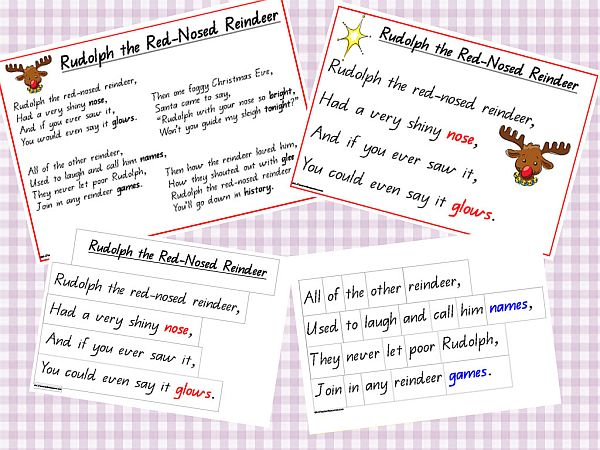 picture about Words to Rudolph the Red Nosed Reindeer Printable titled Rudolph the Pink Nosed Reindeer