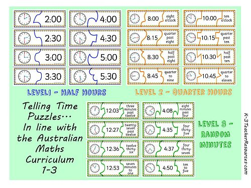 3 Levels of Telling Time Puzzles