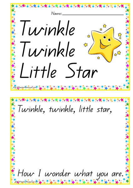 Printable Twinkle Little Star Concept Book