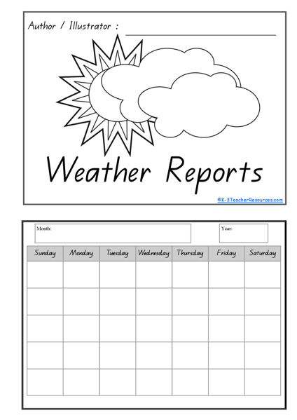 Calendar Symbols Printables : Printable calendar and weather concept book