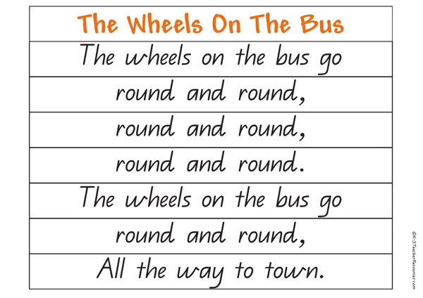Printables Rhyming Sentence how to use songs poems and nursery rhymes the wheels on bus rhyme 4