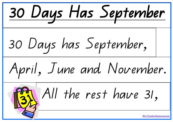 picture relating to Thirty Days Hath September Poem Printable identified as 30-times-incorporates-september-QLD_Site_4 - K-3 Trainer Materials