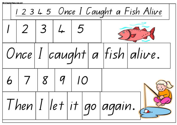 12345 once i caught a fish alive counting song k 3 teacher for Once i caught a fish alive