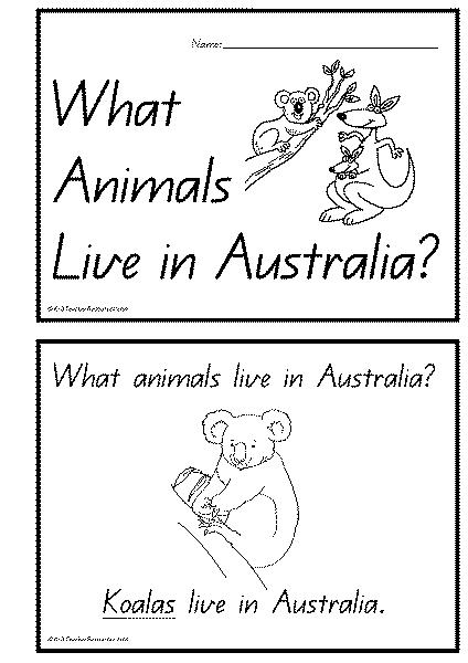 Australian Animals Concept Book K 3 Teacher Resources