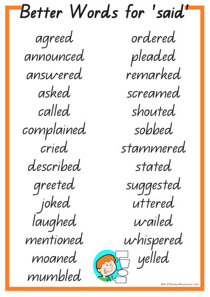 27 Better Words For Said K 3 Teacher Resources