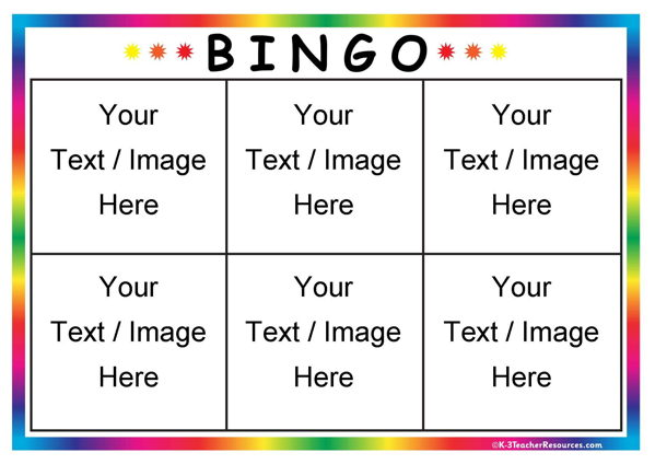 bingo board template 6 page 1 k 3 teacher resources