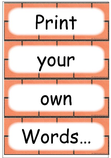 Editable word card templates for Word wall template printable