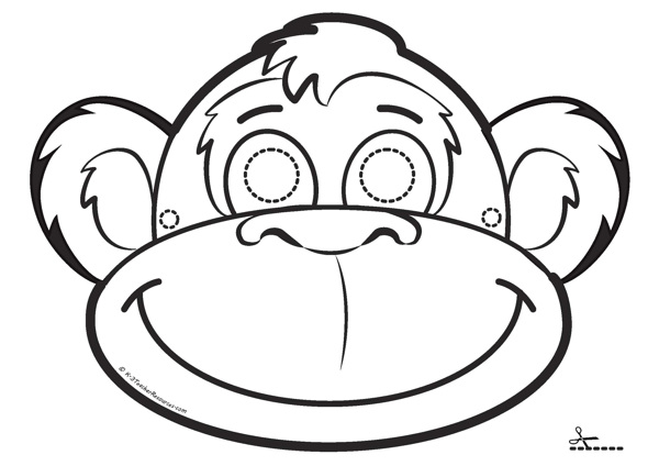 Influential image with printable monkey mask