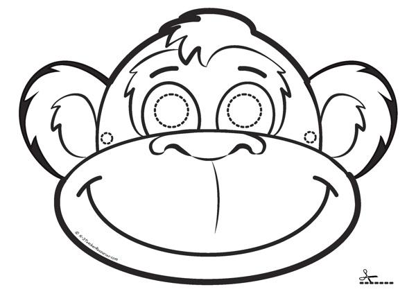 Раскраска обезьяна голова