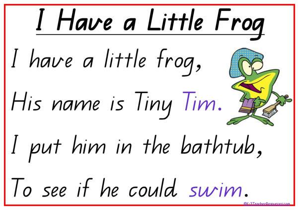 Have a little frog poem k 3 teacher resources