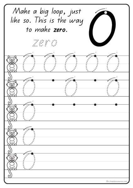 Number Names Worksheets handwriting numbers : handwriting-numbers-large-bw-QLD_Page_01 - K-3 Teacher Resources