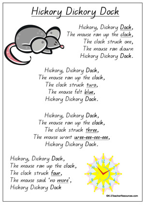 Hickory Dickory Dock Qld Page 01 K 3 Teacher Resources