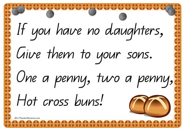 Resultado de imagen de hot cross buns nursery rhyme lyrics