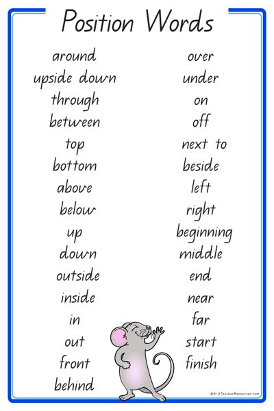 Position Words Qld Page on positional language worksheet kindergarten