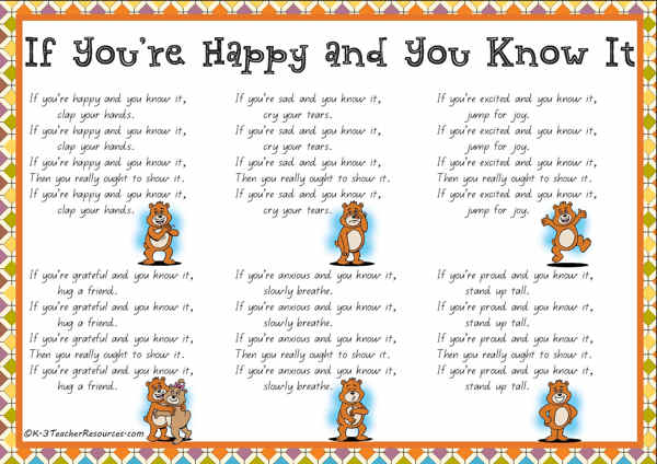 Happy and you know it qld page 01 k 3 teacher resources for If you re happy and you know it coloring page