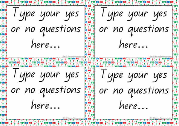 Editable Yes or No Questions Cards Template - K-3 Teacher Resources