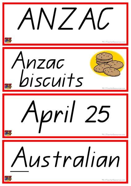 36 Anzac Day Vocabulary Words K-3 Teacher Resources