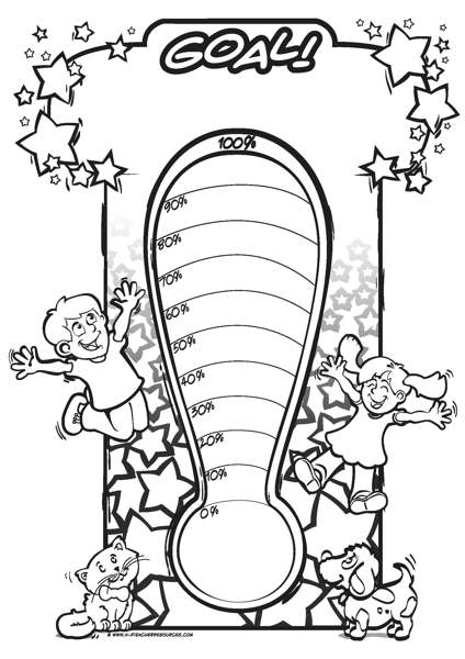 printable goal thermometer k