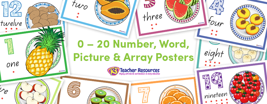 0 - 20 Number, Word, Picture & Array Posters