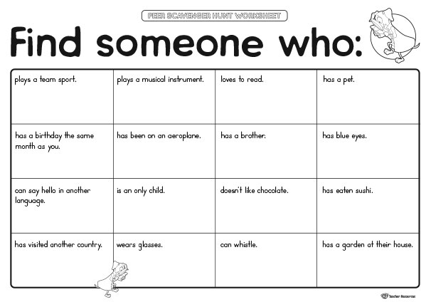 Peer Scavenger Hunt Worksheet K3 Teacher Resources – Scavenger Hunt Worksheet