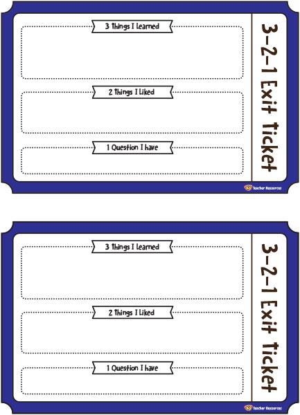 3 2 1 Exit Ticket K 3 Teacher Resources