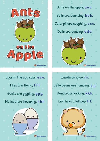 Ants On The Apple Poem Flashcards - K-3 Teacher Resources