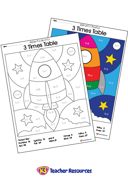 Colour-By-Number - 3 Times Tables - K-3 Teacher Resources
